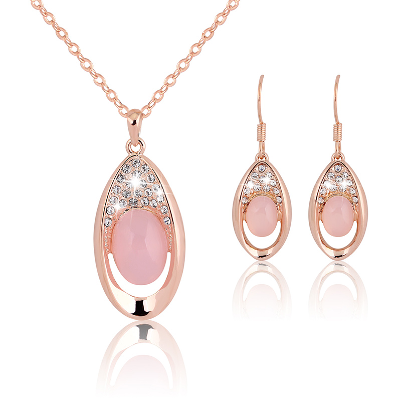 2018 Opal Earrings and Necklace Set of Ornaments Rhinestone Costume Jewelry Sets Women's Bijouterie Indian Ethiopian Jewelry