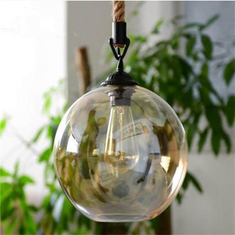 American Countryside Rope Dining Lights Vintage Glass Ball Bar / Living Room Light Single Head Cafe E27 Lights Free Shipping edison inustrial loft vintage amber glass basin pendant lights lamp for cafe bar hall bedroom club dining room droplight decor