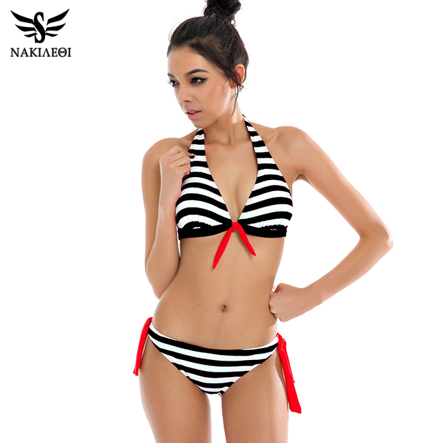 NAKIAEOI 2018 Sexy Bikinis Women Swimsuit Swimwear Halter Top Plaid Brazillian Bikini Set Bathing Suit Summer Beach Wear Biquini 3
