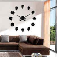 Crânios sem moldura diy grande morden relógio de parede da parte quartzo interior 3d espelho relógios sala estar decoração casa wandklok