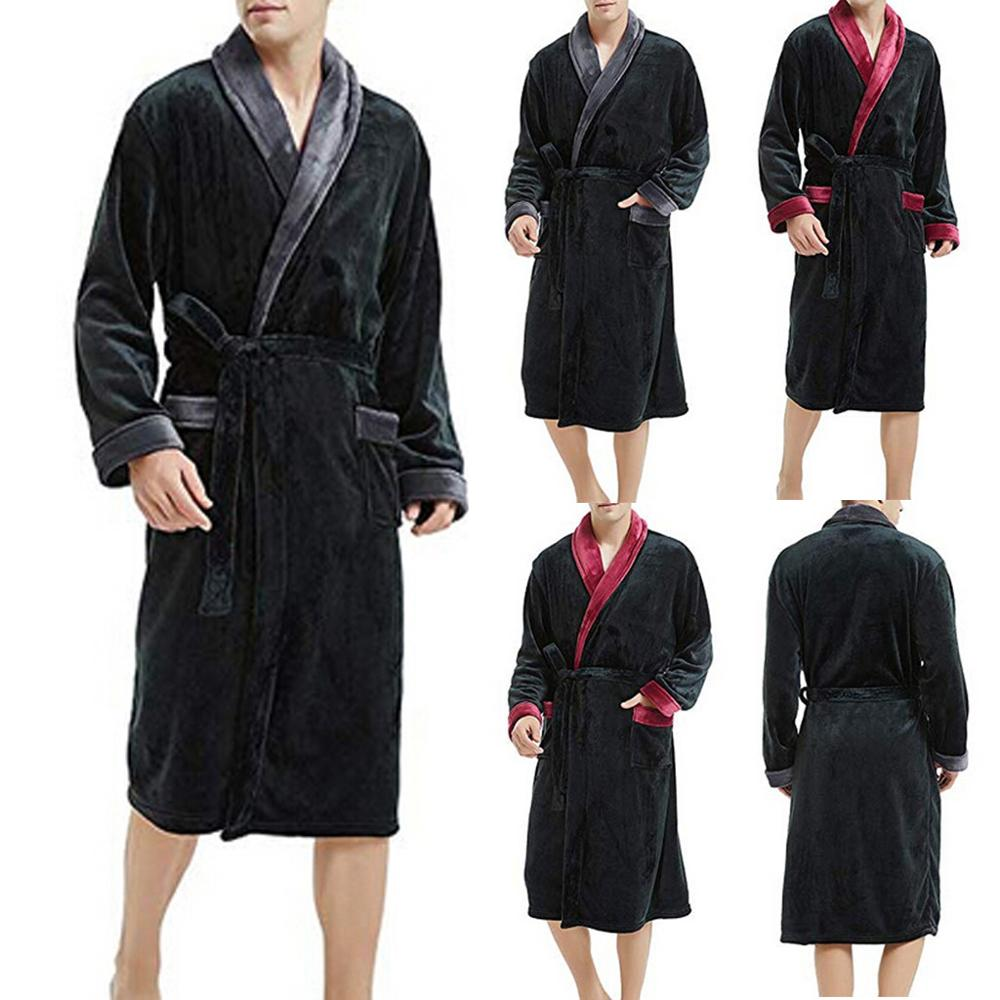 Mens Winter Plush Lengthened Shawl Bathrobe Home Clothes Long Sleeved Robe Coat Men Robe