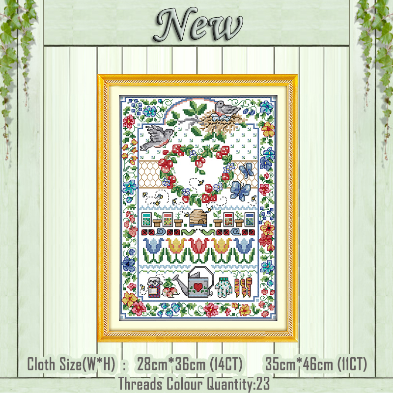 Love Flowers Birds Animal Paintings Counted Printed On The Canvas DMC 11CT 14CT Kits NKF Cross Stitch Embroidery Needlework Sets