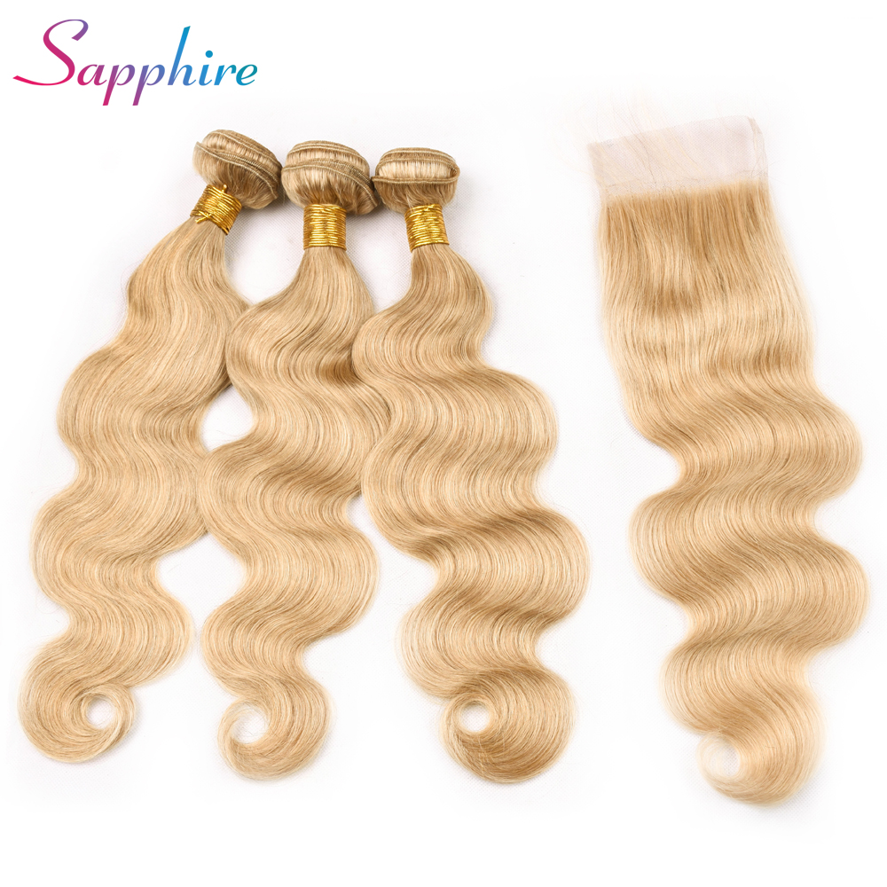 Sapphire 3pcs/lot Peruviann Remy 27# Color Closure 4*4 Part Lace Closure With 3 Bundles Human Hair Weaves