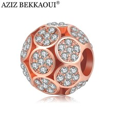 Rose Gold Color Beads Unique Crystal Beads Rhinestones Cabochon Big Hole Loose Beads Fit DIY Diy Bracelet Necklace Chain(China)