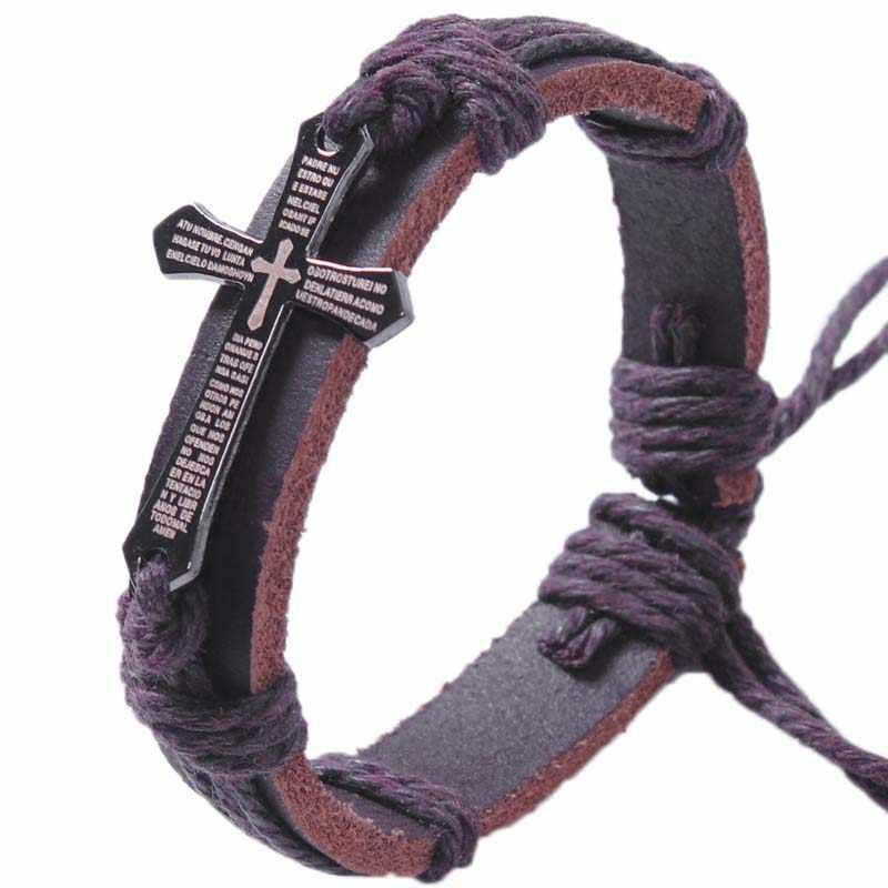 Новый бренд крест кожаный браслет для Для женщин Для мужчин украшения ручной работы оплетки Пояса из натуральной кожи браслет Pulsera lederen повязки