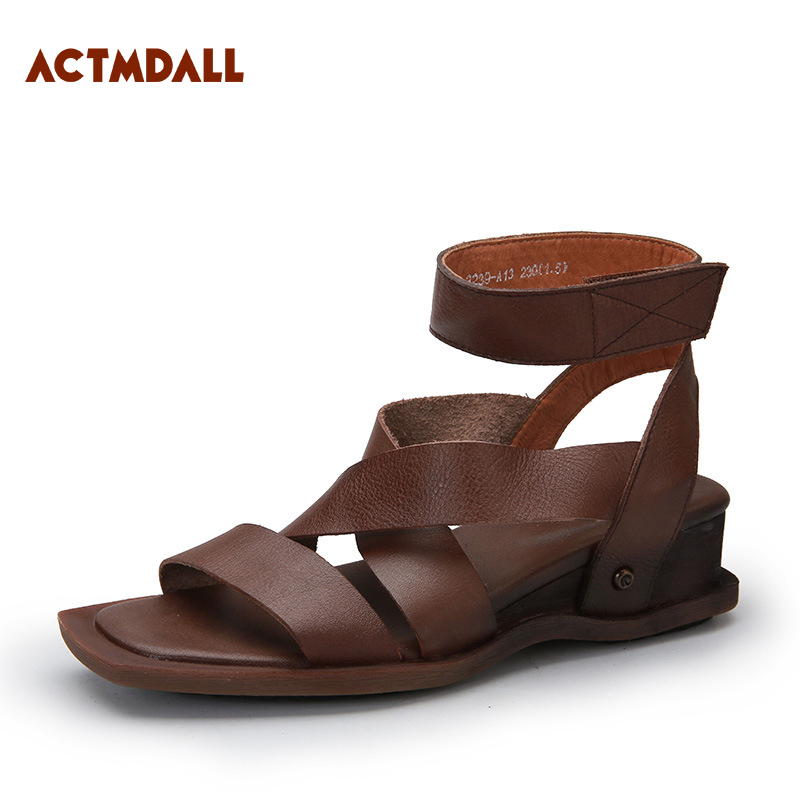 2018 Personality Sandals Women Cow leather Rome Sandals Platform Wedge Heel Cross Strap Ladies Summer Shoes 4CM Actmdall new 2018 summer women sandals platform heel leather comfortable wedge shoes ladies casual sandals