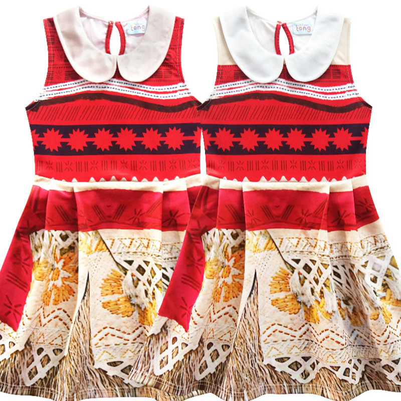 Baby Girls Dress Moana printed Vestiods Kids Dresses for Girls Clothes Vaiana Princess party Christmas Dress Children clothing moana vaiana clothes christmas gift party fancy costume cosplay girls ballet dress baby kids princess dance leotard dresses 3 10