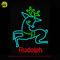 2016 Hot Rudolph Neon Sign Glass Tube Handcrafted Recreation Store Iconic Personalized Sign Flashlight Indoor Fairy