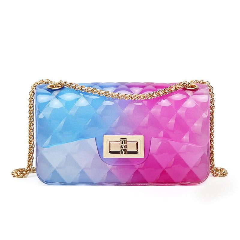 Fashion Colorful PVC Bag Women High Quality Transparent Plaid Jelly Chian Crossbody Bags Gradient Candy Color Lady Shoulder Bag