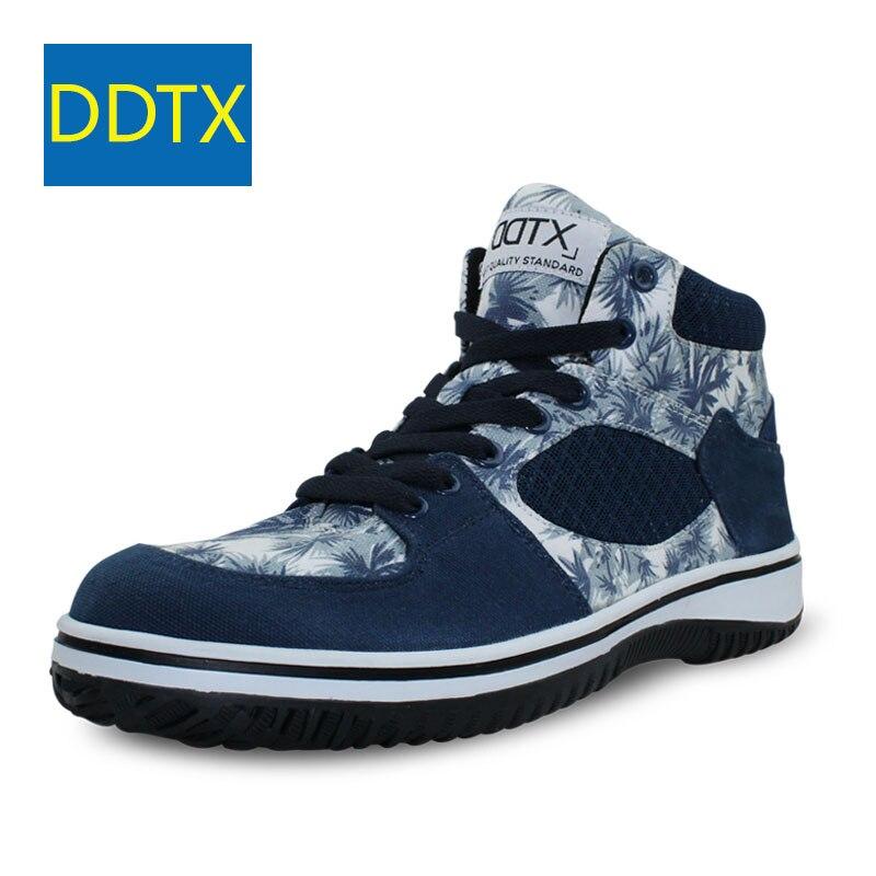 DDTX bottes de sécurité hommes chaussures en acier embout casquette toile armée bottes haute léger respirant large Fit antidérapant mâle chaussures de travail bleu