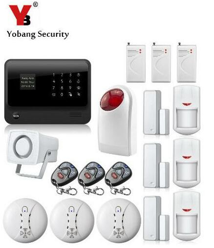 YobangSecurity Android IOS APP Touch Screen GSM WIFI Burglar Alarm System with 433Mhz Smoke Fire Detector Wireless Outdoor Siren yobangsecurity touch keypad wireless home wifi gsm alarm system android ios app control outdoor flash siren pir alarm sensor