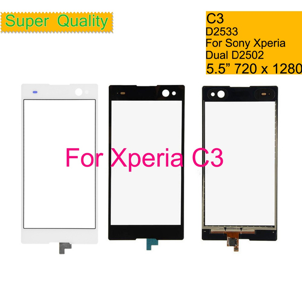 Touchscreen For Sony Xperia C3 D2533 Touch Screen Digitizer Front Glass Panel Sensor Lens C3 DUAL D2502 Touch Panel NO LCD 5 5 quot in Mobile Phone Touch Panel from Cellphones amp Telecommunications