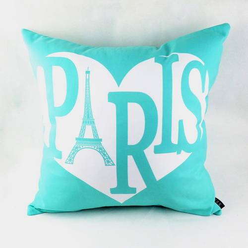 18 Trendy Heart Paris Printed Soft Microfiber Fabric Throw Pillow Case For Wedding Valentine Gifts
