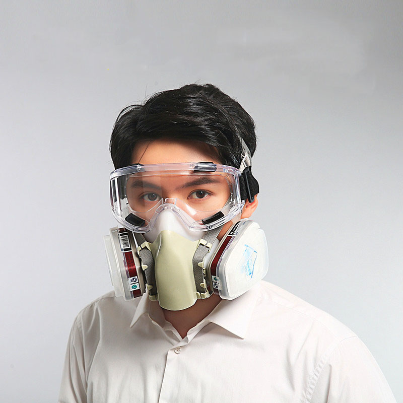 Half Face Gas Mask with Goggles Original Respirator with Silica gel Anti-pesticide/Chemical paint/formaldehyde/smoke 1212B skull style half face mask old silvery