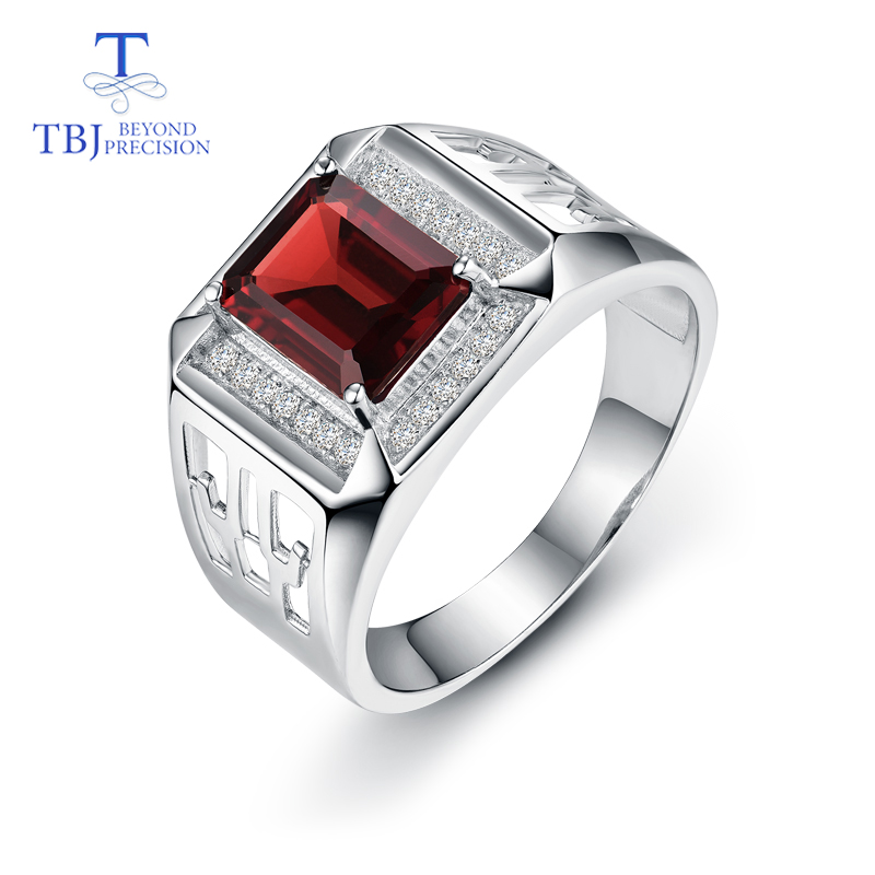 TBJ, Natural Mozambique Garnet Ring In 925 Silver Men's Ring In  925 Sterling Silver For Men With Gift Box,for Men's Gift