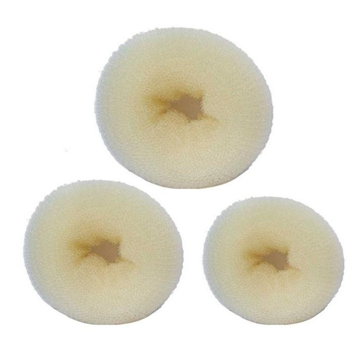New arrival hot sales 3Pcs Sponge Women Girl Hair Bun Ring Donut Shaper Styler Maker 3 Sizes Beige New FreeShopping & Wholesales