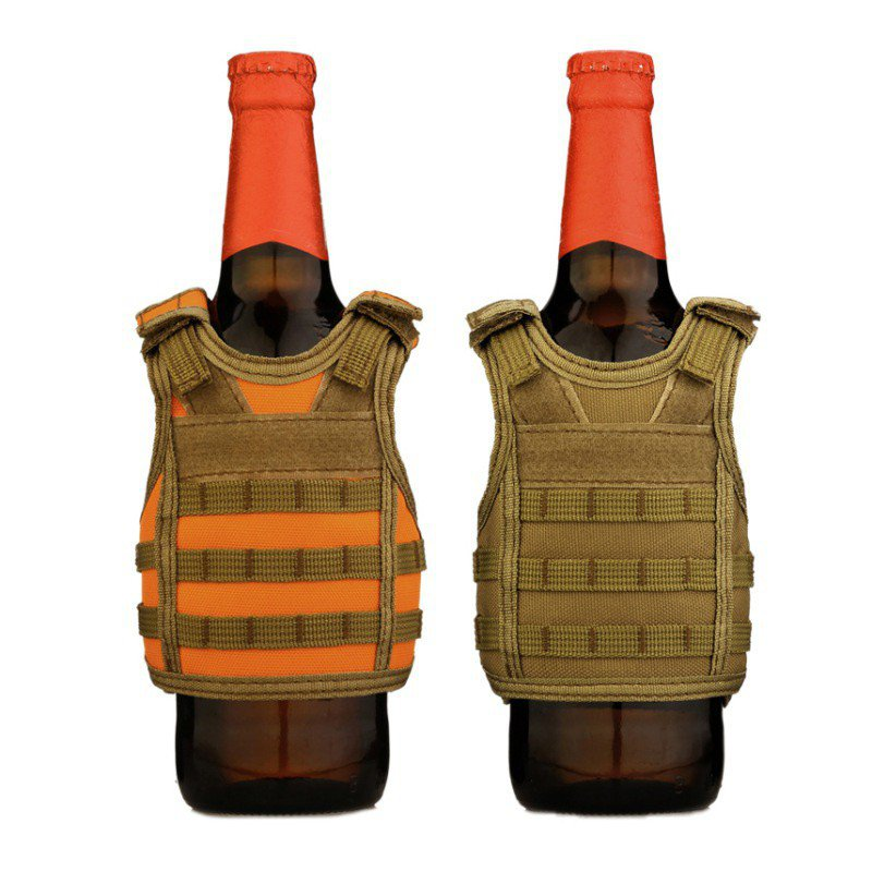 Hot!! Tactical Beer Bottle Cover Military Mini Miniature Molle Vest Personal Bottle Drink Set Adjustable Shoulder Strap Rn