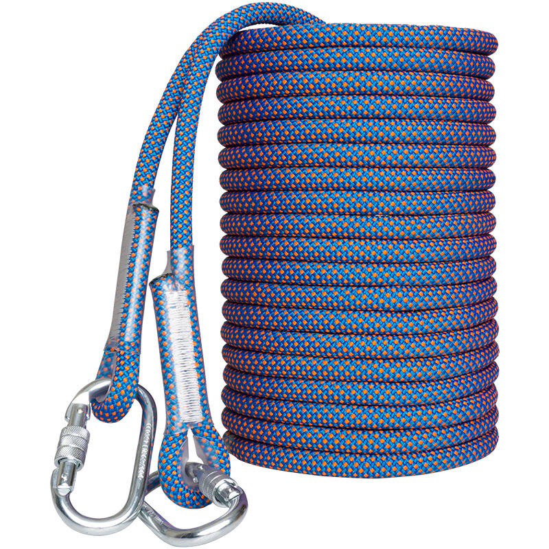 Sangle de Polyester auxiliaire statique de corde d'escalade de sauvetage randonnée sécurité 4500kg avec 2 mousquetons activités de plein air