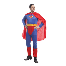 Adult Men Superman Costume Jumpsuit Super Hero Man Costumes Halloween Purim Party Carnival Cosplay Outfit