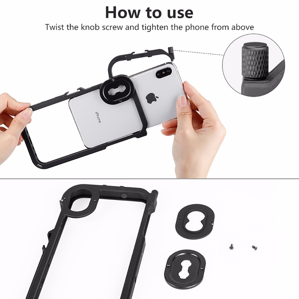 Ulanzi Metal Bumper Cover Phone Case Frame for iPhone X XS XS MAX w Mic Cold Shoe Mount 17mm Lens Adapter for Moment lens in Phone Bumpers from Cellphones Telecommunications