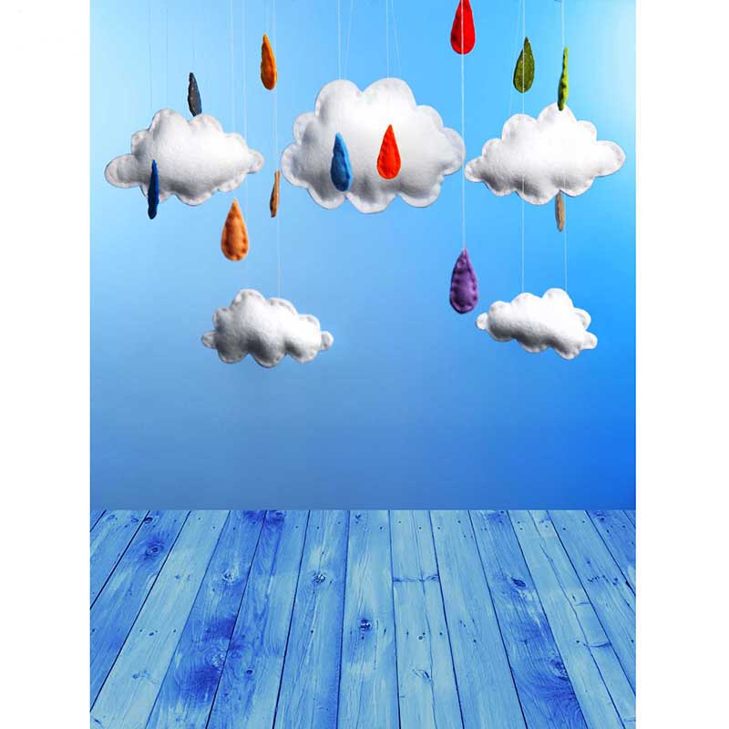 Vinyl Photography Background Cartoon Rain clouds Newborn Computed Printed Children Backdrops for Photo Studio