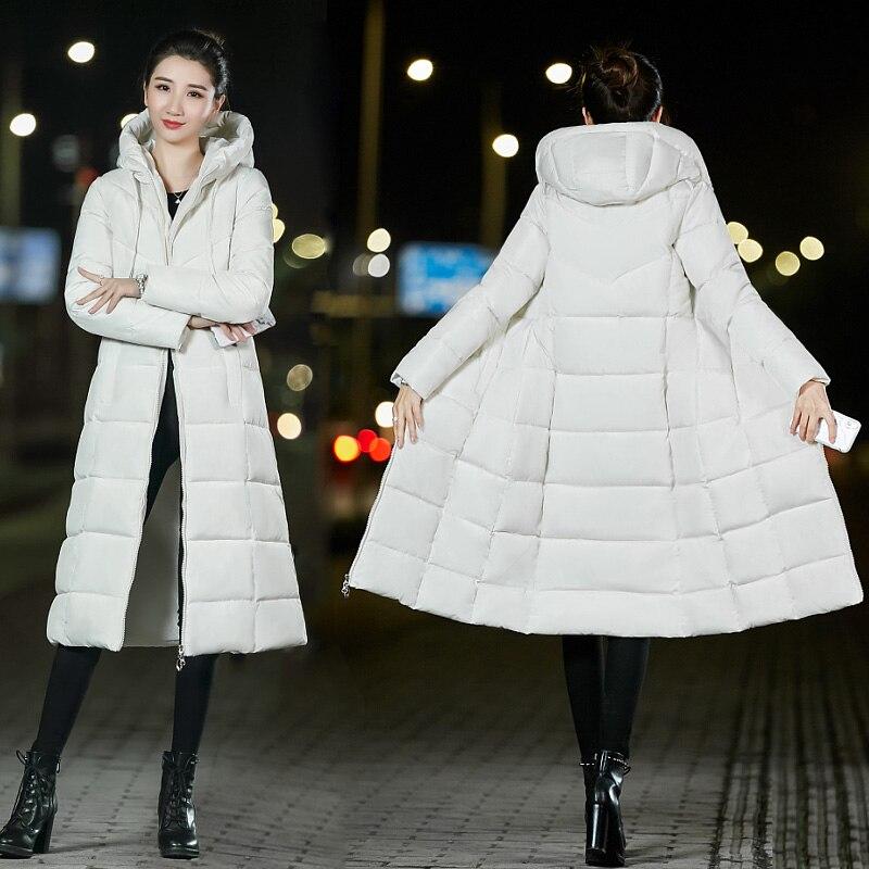 Large size 6XL Hooded 2018 Winter Jacket Women Cotton Padded Coat Womens X Long Parkas Warm