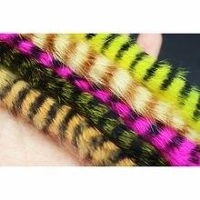 Tigofly 5 cores sortidas preto barrado rabbit zonker tiras corte reto 4mm largura para baixo truta steelhead fly que amarra materiais