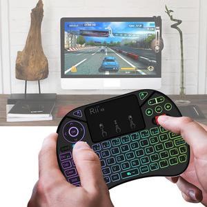 Image 3 - תאורה אחורית רוסית Rii x8 2.4GHz אוויר עכבר RGB 7 צבעים אלחוטי מיני מקלדת כף יד Touchpad משחקים עבור אנדרואיד טלוויזיה תיבת מחשב