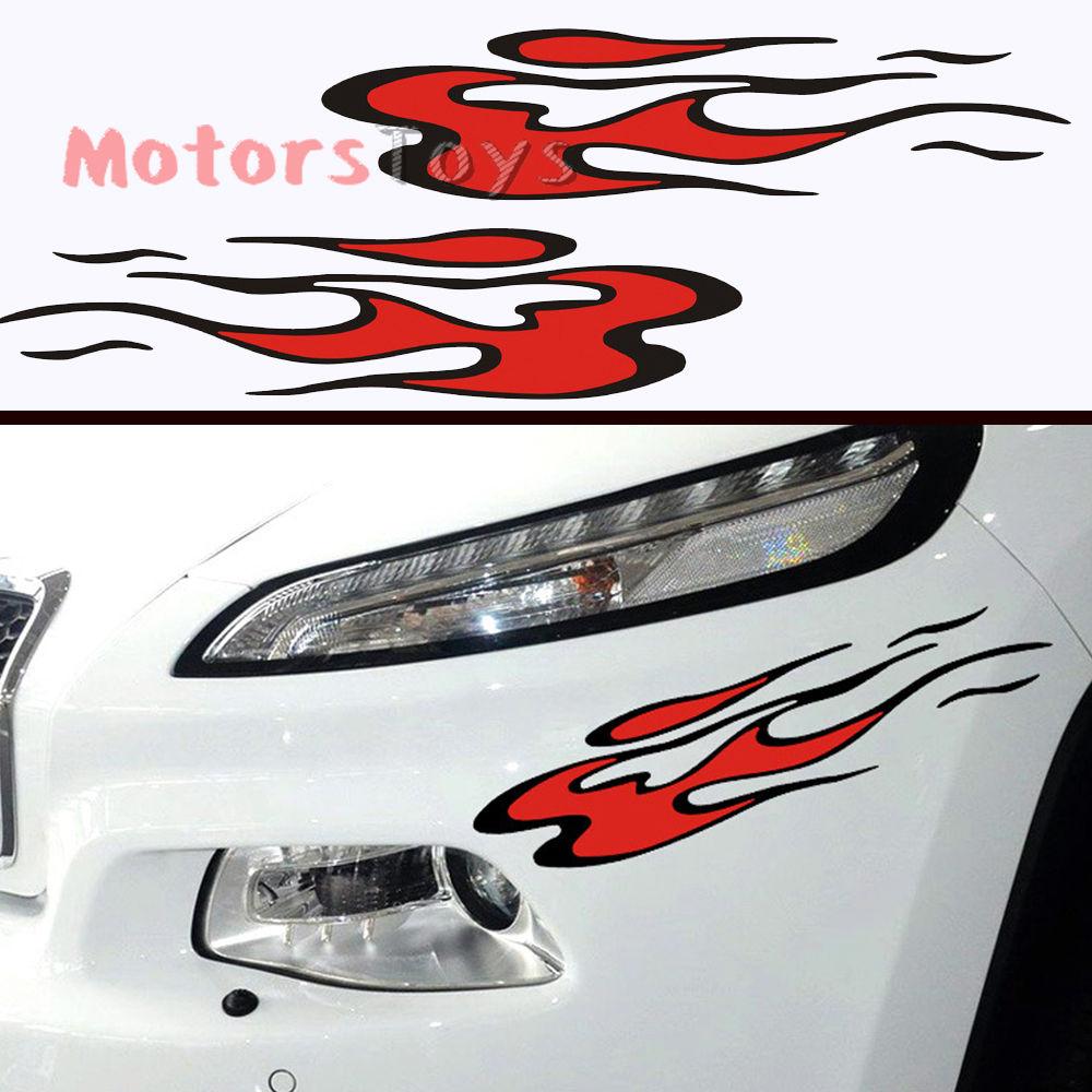 Car sticker design fire - 2pcs So Cool One Set Of Hellaflush Fire Jdm Reflective Vinyl Car Sticker Decal China