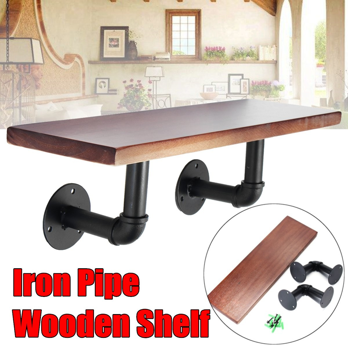 Brand New 50cm Industrial Wall Mount Iron Pipe Shelf Rustic Urban Wooden Shelving цена