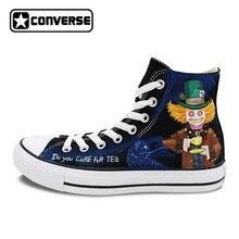 Дизайн All Star обувь холст кроссовки для Для мужчин Для женщин Чеширский кот Безумный Шляпник ручная роспись Converse Chuck Taylor