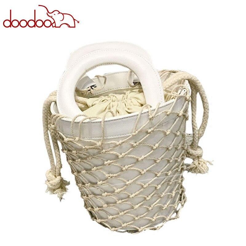 2018 INS Super Hot Sale Summer Women Handbag Woven Bucket Female Bag Luxury Brand Famous Designer Lady Small Tote Bag 19*18*14cm