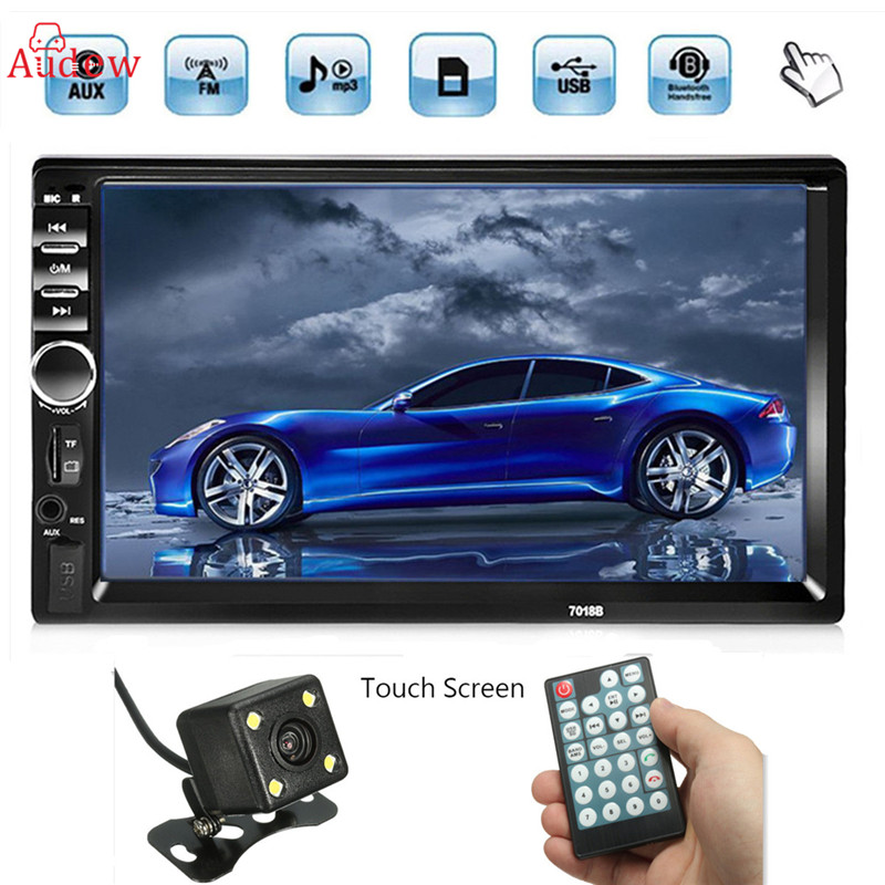 7'' 2 Din Touch Screen Car Radio Player Audio Stereo Bluetooth MP5 FM AUX Player Multiple Languages Menu With Rear View Camera steering wheel control car radio mp5 player fm usb tf 1 din remote control 12v stereo 7 inch car radio aux touch screen