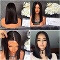 Vendedora superior del cordón corto bob pelucas de pelo sintético negro de Cola de fibra menos densidad pelucas delanteras del cordón lleno/No Encaje pelucas para mujer negro