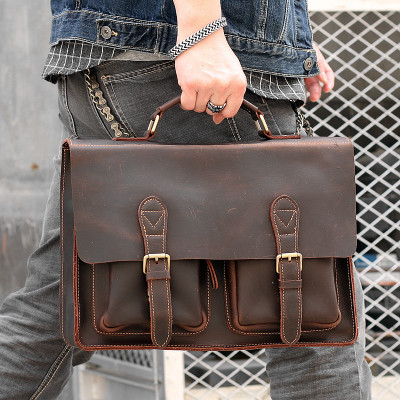 Luxury Durable Crazy Horse Leather Men's Handbag Casual 14