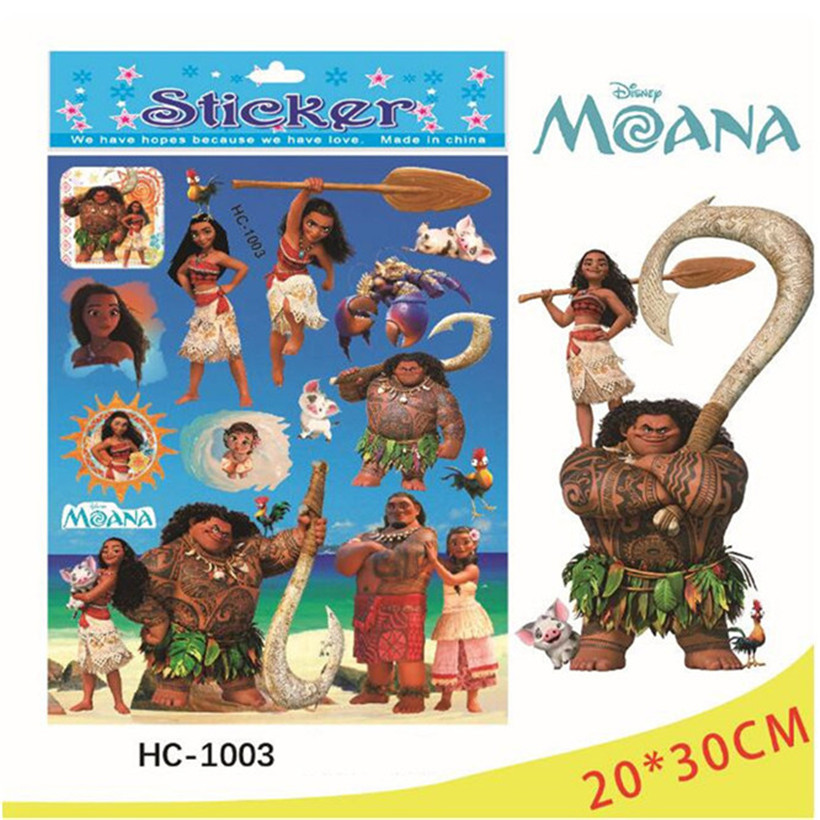 New 100Pcs Exquisite Moana Princess Environmental Protection Cartoon Sticker Children Stickers PVC Stickers Kids Christmas Gifts creative pvc environmental protection wall big cow cartoon children s painting teaching blackboard with erasable dlxb027