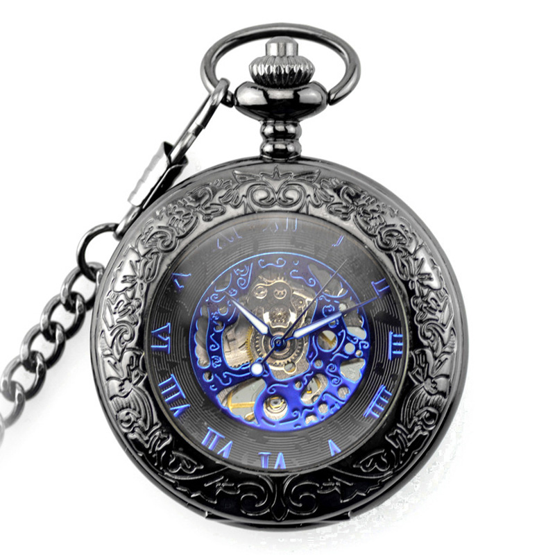 Steampunk Gear Pendant Black Vintage Pocket Watch Fob Chain Mens Women Mechanical Watches Skeleton Dial Casual Retro Clock Gift steampunk antique silver mechanical skeleton pocket watch mens women watches vintage hollow pendant chain clock gifts retro
