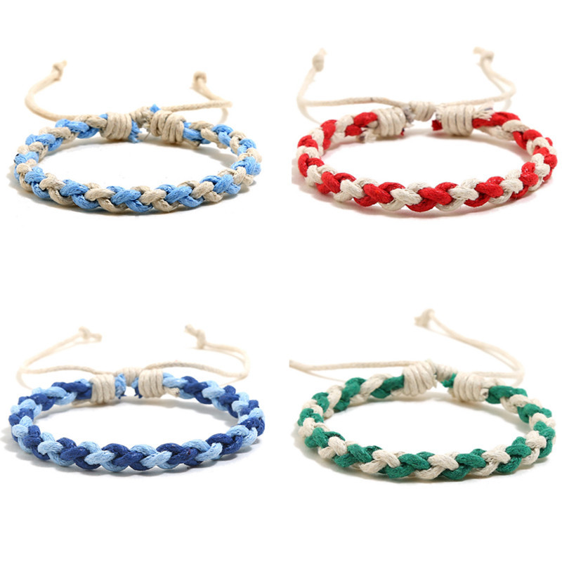 Waxed Thread Braided Bracelet Bangle for Men Handmade Rope Jewelry Bracelets Summer Casual Mens 2019