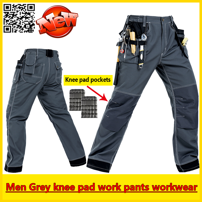 Bauskydd Mens EVA knee pad grey work pant mechanic work pants padded knee trousers work pant with knee pads free shipping 30cm crazy toys punisher figure frank castle 16 scale collectible action figure collection model toy 12inch