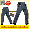 Mens EVA knee pad grey work pant mechanic work pants padded knee trousers  work pant with knee pads free shipping