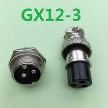 1pcs GX12 3 Pin Male & Female 12mm Wire Panel Connector Aviation Plug L89 GX12 Circular Connector Socket Plug Free Shipping