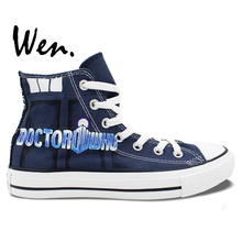 Wen Hand Painted Shoes Design Custom Doctor Who Logo Police Box Dalek And Tardis High Top Men Women's Canvas Sneakers