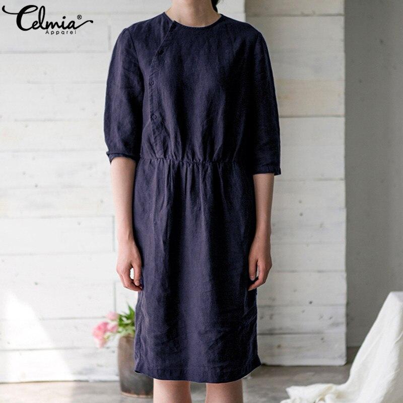 Plus Size Vintage Women Dress Half Sleeve Casual Loose 2018 Summer Ladies Knee-Length Soild Buttons Elegant Cotton Linen Dress