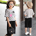 2016 Girl Kids Summer Clothes Wide Leg Girls Tide Set Two Sets Children Fashion Polka Dot Short Coat Pullover Hello Kitty