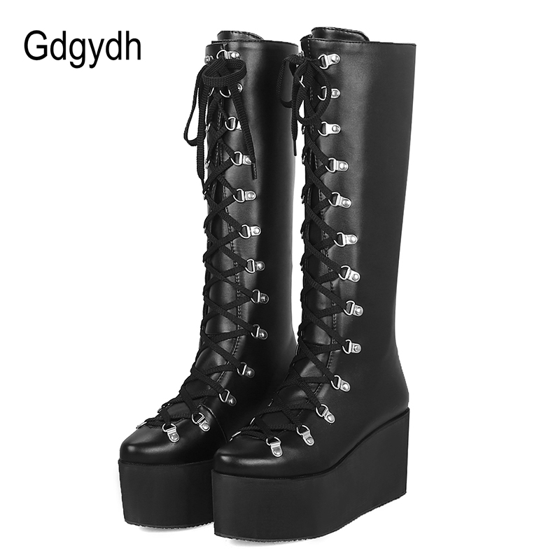 buy real buying now world-wide selection of US $28.99 50% OFF|Gdgydh Ladies Knee High Boots Wedge Heel Platform Boots  Woman Punk Gothic Shoes Pointed Toe Lace Up Comfortable Large Size 43-in ...