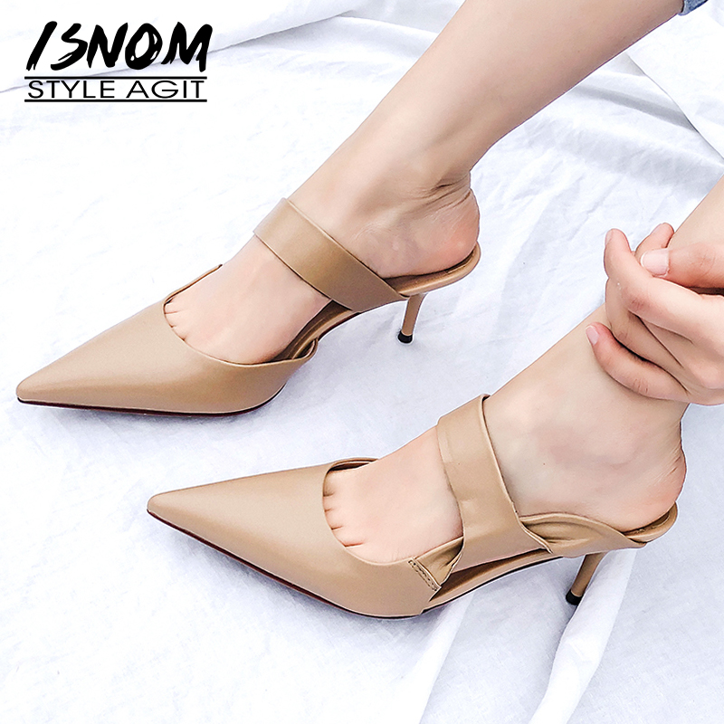 ISNOM Sexy Summer Slippers Woman 2019 New Women Slides Shoes Female Pointed Toe High Heels Mules