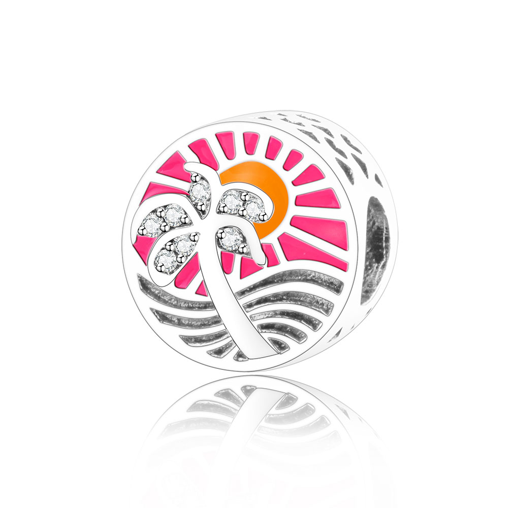 Tropical Paradise Sunset Silver Charm Real 925 Sterling Silver Bead With CZ Colorful Enamel Fit Original Pandora Charm Bracelet