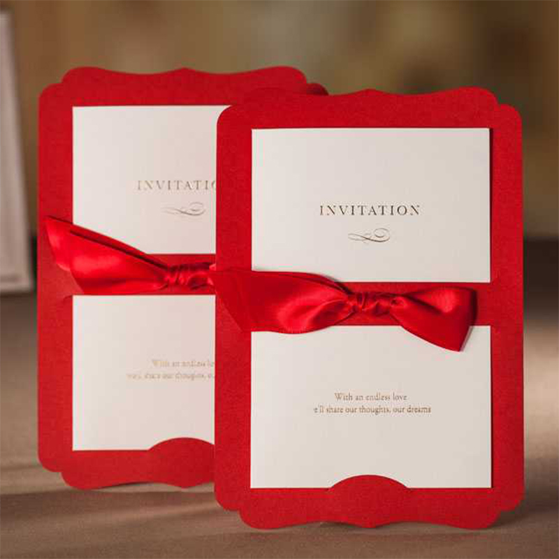 New Design Red Ribbons Bow Wedding Invitation Card Printing Invitations Cards Set Lot insert Style Free Print Casamento Convite square design white laser cut invitations kit blanl paper printing wedding invitation card set send envelope casamento convite