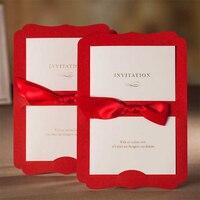 Yeni Tasarım Kırmızı Kurdela Bow Düğün Davetiye Baskı Davetiyeleri Kartları Set Lot ekle Stil Ücretsiz Baskı Casamento Convite