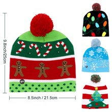 Christmas Tree Beanie Light Up Knitted Hat for Children Adult Christmas Party